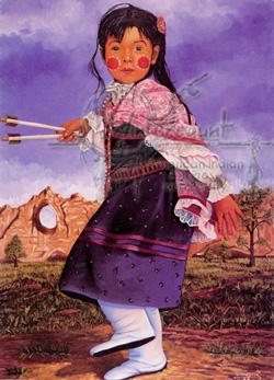 Leonard Peltier Art Indian Girl In Dance Shawl Wintercount Art